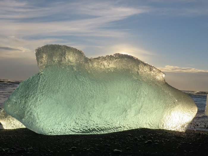 Iceberg on beach at Jökulsárlón