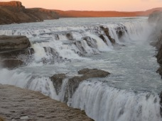 Gullfoss waterfall - before the ice pellets whipped up by the wind necessitated a hasty retreat.