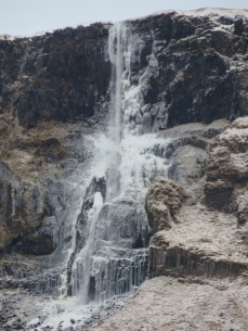 Frozen waterfall near Hellnar. This is not a painting