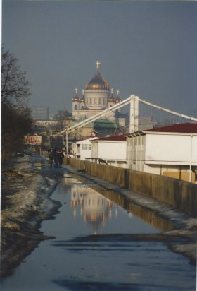 The spring thaw. Cathedral of Christ the Saviour in the distance.