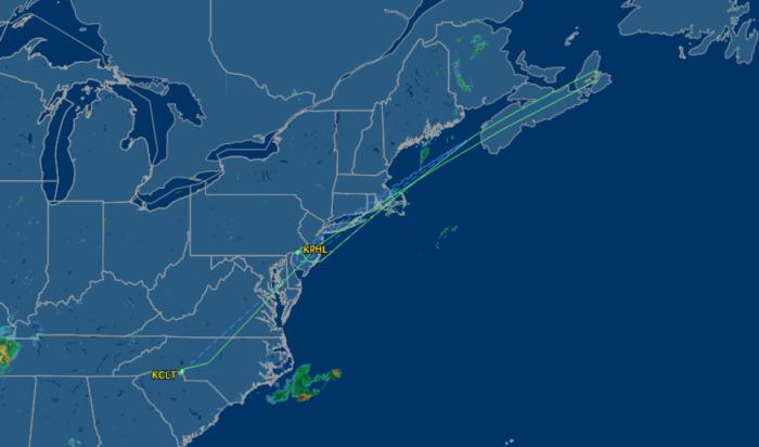 Flight path of US732 (Charlotte to London Heathrow) on the night of 21st July 2015