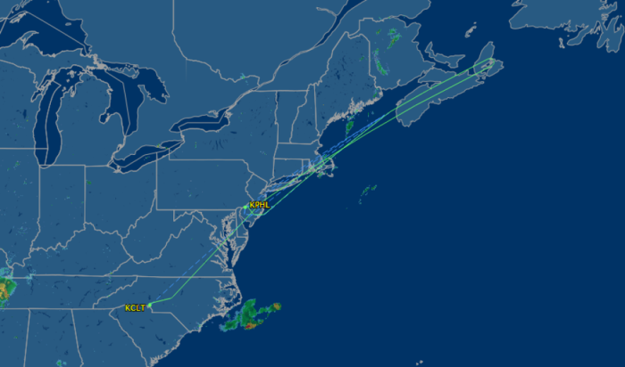 Flight path of US732 (Charlotte to London Heathrow) on the night of 21st July 2015