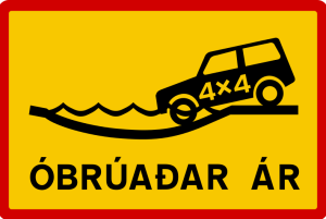 Iceland River Crossing Sign